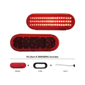 6 Inch Oval Stop, Turn And Tail Light Kit With Red LEDs And Lens