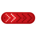 "35 LED 6"" Oval Sequential Turn Signal Light - Red LED/Red Lens"