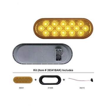 16 LED 6 Inch Oval Reflector Turn Signal Light Kit