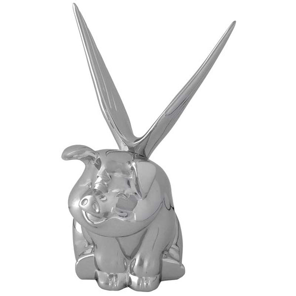 Chrome Plated Sitting Pig With Wings Hood Ornament