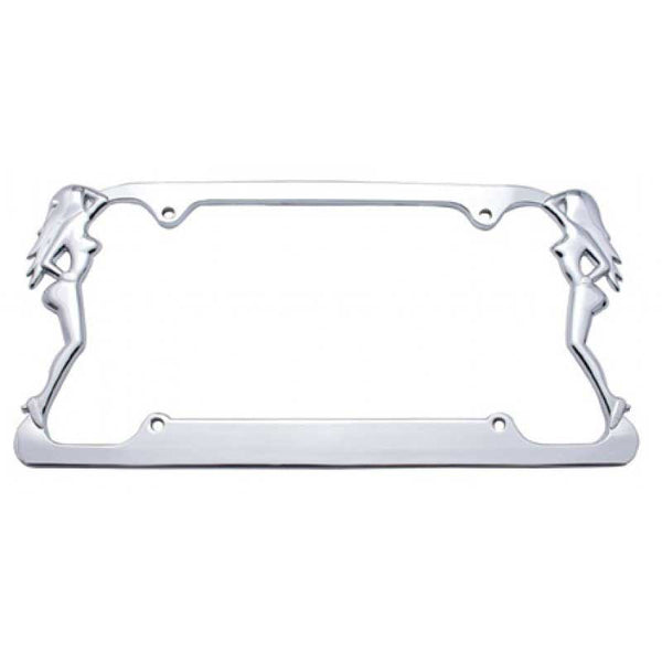 Chrome Nude Lady License Frame