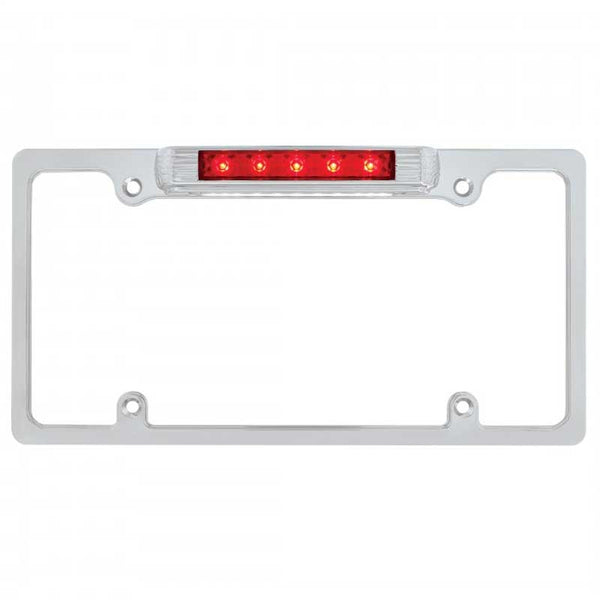 Chrome License Plate Frame with 5 LED Brake+11 LED Plate Light