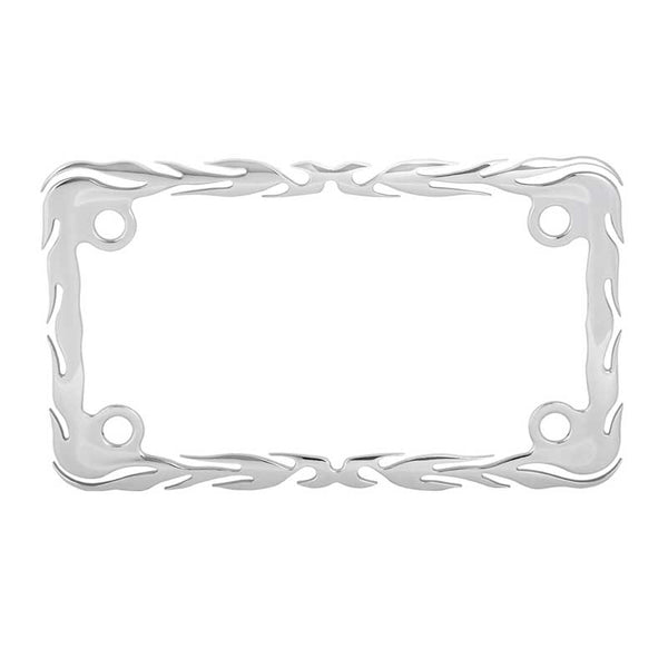 Flames Motorcycle License Plate Frame W/ Four Holes
