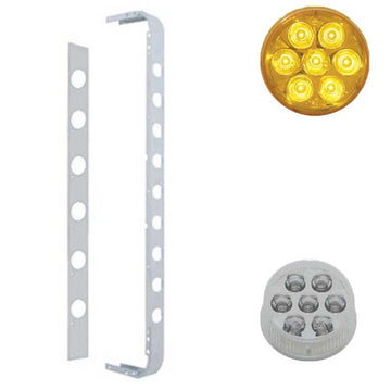 Stainless Cab/Sleeper Light Panel w/ 2 Inch LED Reflector Lights