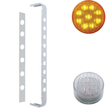 Stainless Cab/Sleeper Light Panel with 2 Inch LED Lights