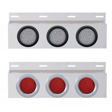 Top Mud Flap Plate With Three 36 LED 4 Inch Lights And Grommets