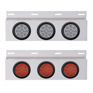 Top Mud Flap Plate With Three 12 LED 4 Inch Lights And Grommets