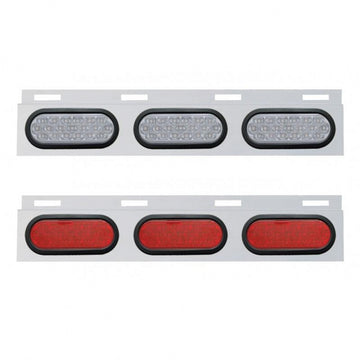 Top Mud Flap Plate With Three 19 LED Oval Lights And Grommets