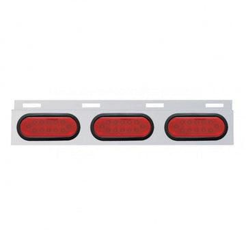 Top Mud Flap Plate With Three 12 LED Oval Lights And Grommets