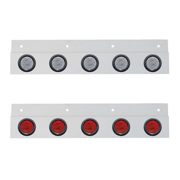 Top Mud Flap Plate With Five 9 LED 2 Inch Lights And Grommets