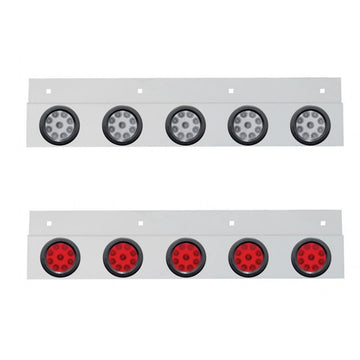 Top Mud Flap Plate With Five 9 LED 2 Inch Reflector Lights And Grommets