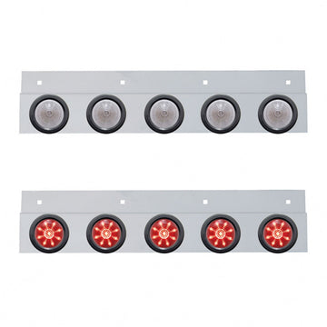 Top Mud Flap Plate With Five 9 LED 2 Inch Beehive Lights And Grommets