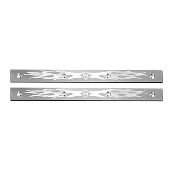 Stainless Steel 24 Inch Mudflap Top Plate with Flame Design