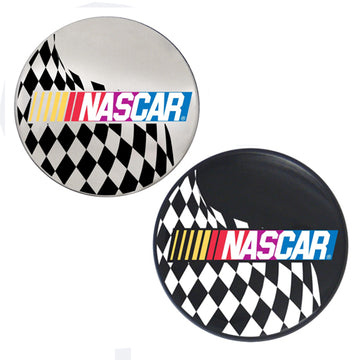Nascar Logo With Checkered Flag Horn Button For 5 Hole Bolt Pattern Wheel