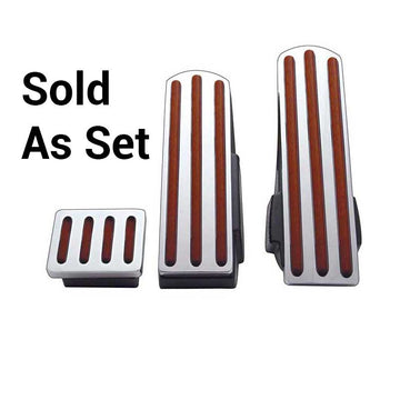Kenworth Chrome Pedal Set With Wood Inserts