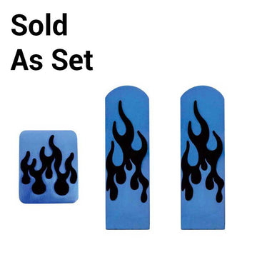 Peterbilt Annodized Flame Pedal Set In Blue