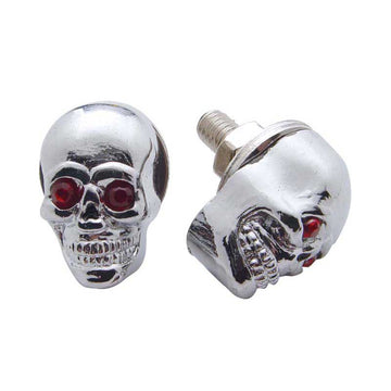 Chrome Skull With Jewel Eyes License Plate Fastener