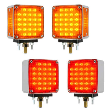 Amber/Red Square Smart Dynamic Double Face LED Pedestal Light