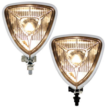 Triangle Headlight in Chrome or Blach Finish & Two Shaped Backs