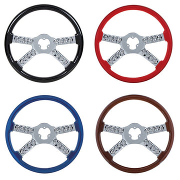 18 Inch Chrome Steering Wheels With Skull Accents