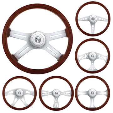 Peterbilt And Kenworth 18 Inch Wood And Chrome Steering Wheels