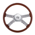 Peterbilt And Kenworth 18 Inch Wooden Steering Wheel With Hub And Skull Accent