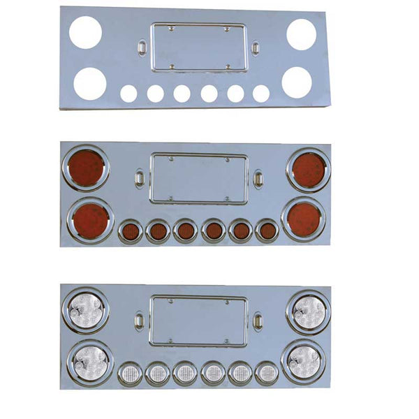 Stainless Steel Rear Center Panel with 4 Inch and 2 Inch LEDs