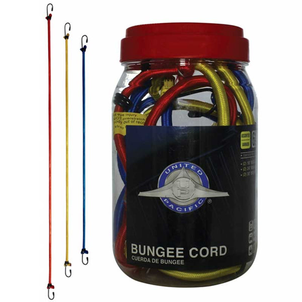 6 Piece Bungee Cords with Coated Steel Hook & 3 Sizes