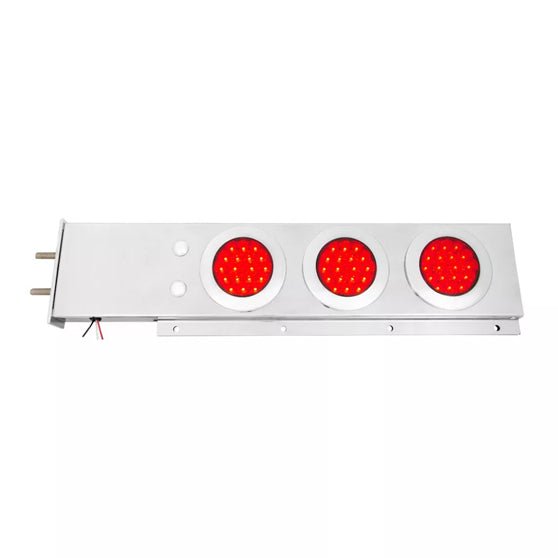 Stainless Steel Spring Loaded Two Piece Rear Light Bar With 4 Inch Fleet LEDs And Chrome Bezels