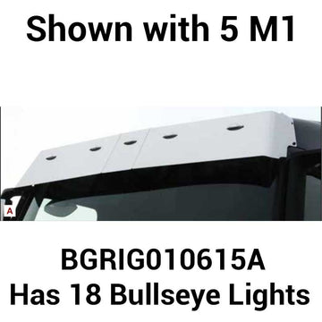 "Volvo VN Low Roof 14"" Drop Visor with 18 Bulls-eye Lights"