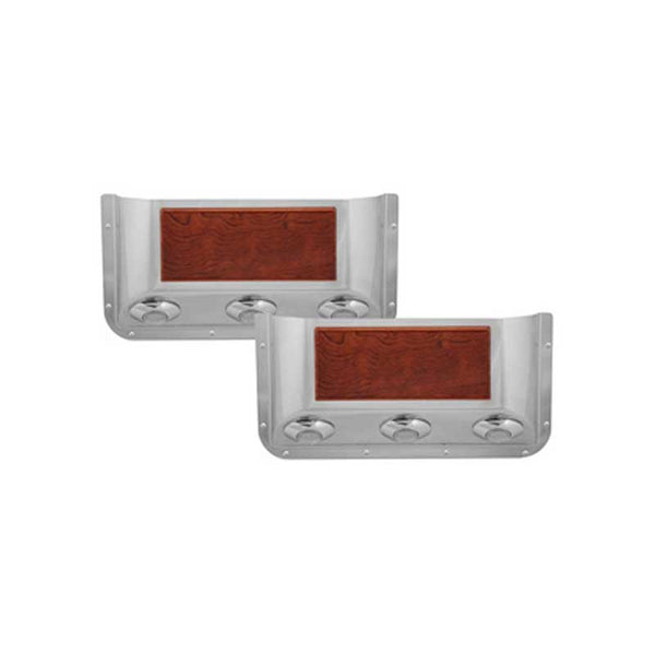Stainless Door Pockets with Rosewood Trim and 3 Clear Red Light