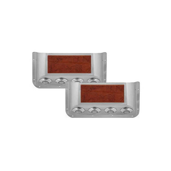 Stainless Door Pockets with Rosewood Trim and 4 Clear Red Light