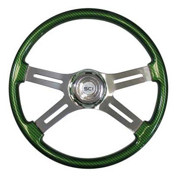 Steering Wheel Exotic Pattern Carbon Fiber / Synergy Green