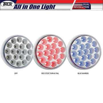 4 Inch 19 LED Dual Red Stop /Blue Marker All in One Light