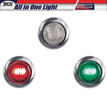 Mini Button 2 LED Dual Revolution Red / Green Marker Light