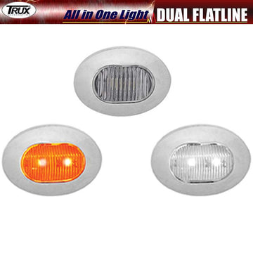 Mini Oval Dual Button Amber/White Marker LED All in One Light