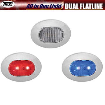 Mini Oval Dual Button Red/Blue Marker LED All in One Light