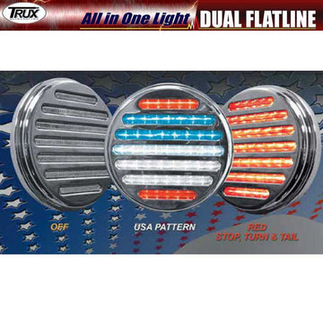 4 Inch Dual Red-White-Blue Stop/Tail/Turn LED Light
