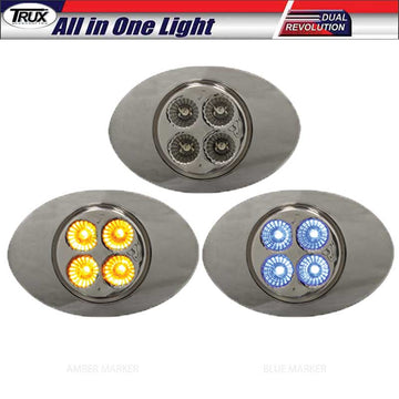 M3 Style Dual Amber/Blue Marker 4 LED All in One Light