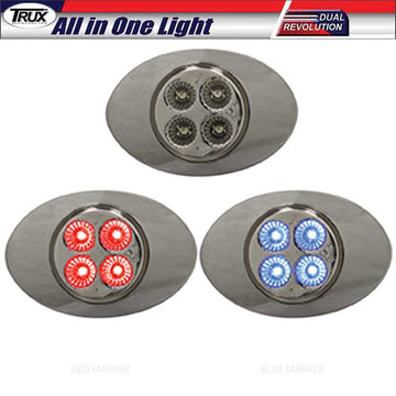M3 Style Dual Red/Blue Marker 4 LED All in One Light