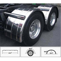 80 Inch Fully Ribbed Single Axle Fender with Rolled Edge