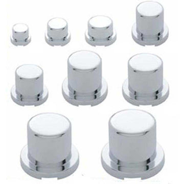 Chrome Flat Top Nut Cover Push On No Flange w/ 10 Sizes