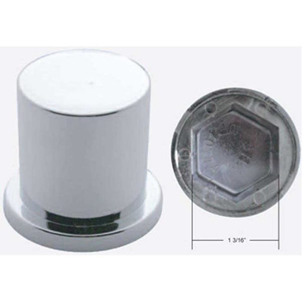 Chrome Plastic Flat Top Push-On Nut Cover with Flange