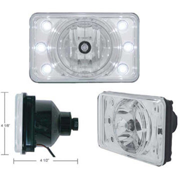 4 x 6 Inch Headlight w/ LED Position Light High-Beam ONLY