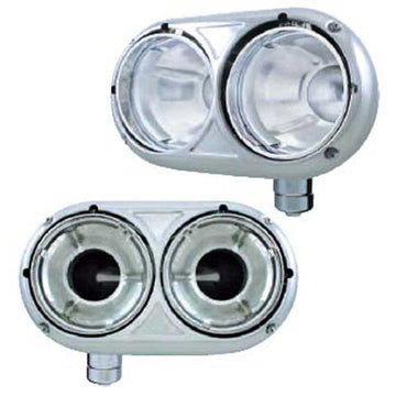 Peterbilt 359 Style Dual Headlight Housing in Stainless Steel