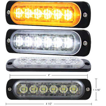 6 High Power LED Thin Directional Warning Light w/Amber or White