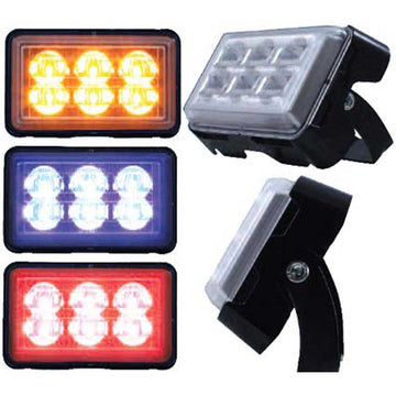 6 LED Rectangular Warning / Strobe Light with Bracket in 3 Color