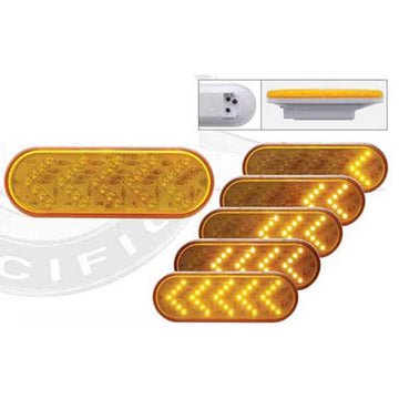 "35 LED 6"" Oval Sequential Turn Signal Light - Amber LED/Amber Lens"
