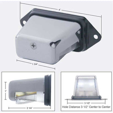 2 White LED License Light
