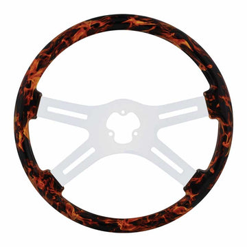 "18"" Flame Steering Wheel with Hydro-dip Finish Wood"